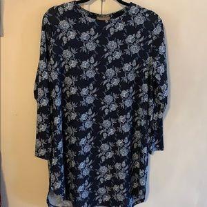 Blue floral Long sleeve dress